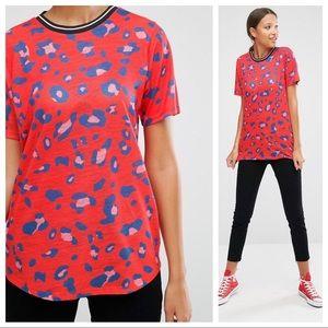 ASOS Leopard Print Ribbed Collar Oversized T-Shirt